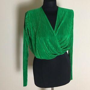 Bright Green Plisse Crop Top